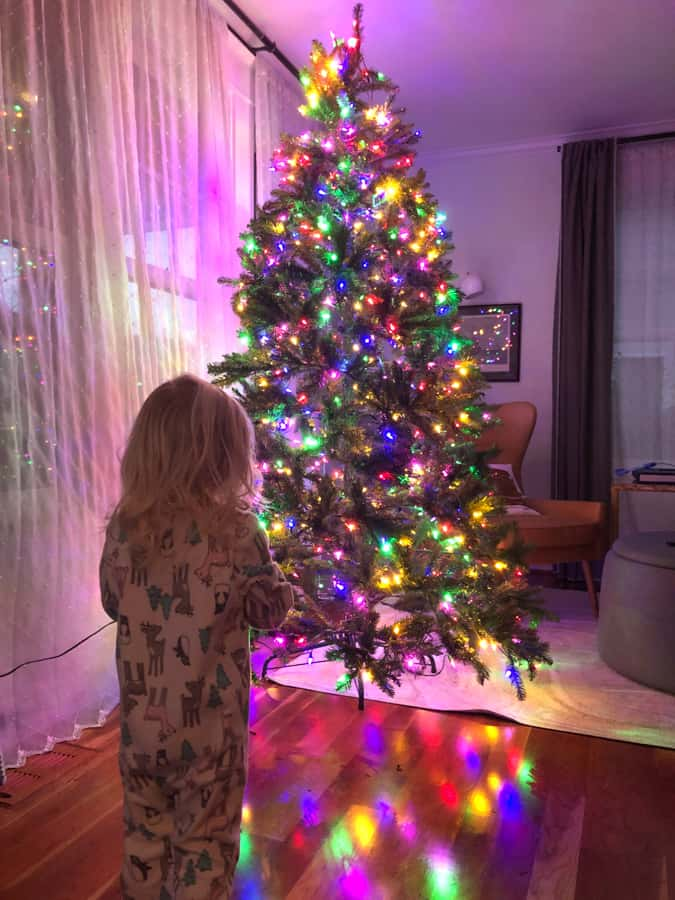 toddler and christmas tree