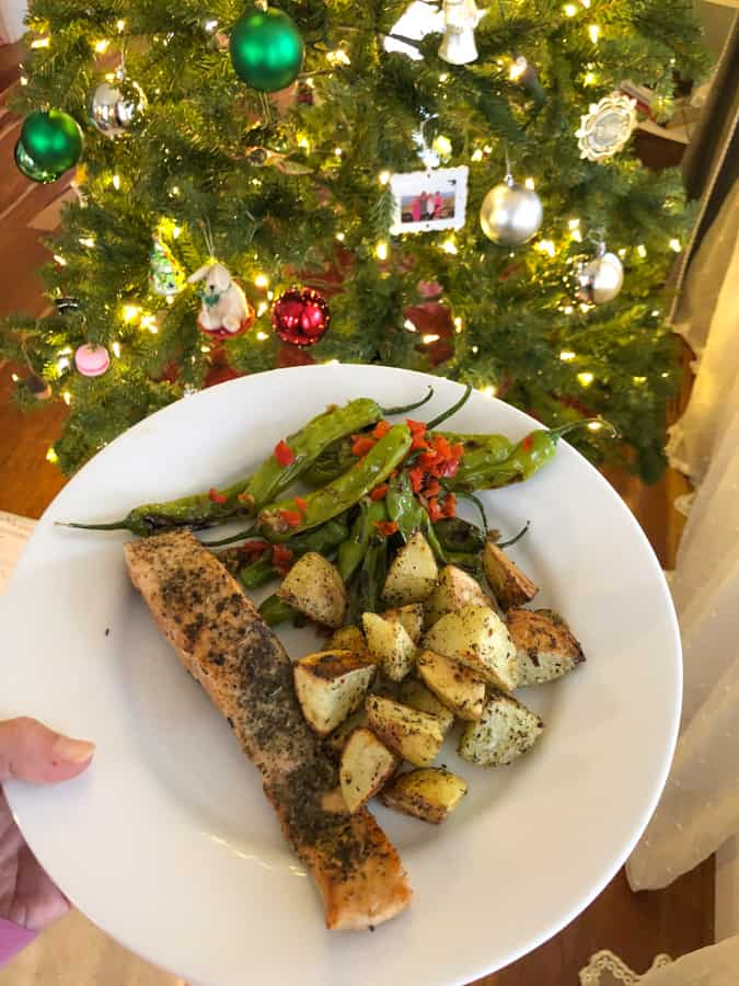 blue apron salmon dish with christmas tree