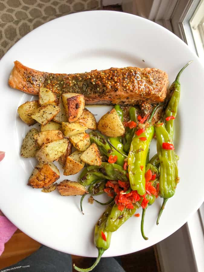 salmon with shishito peppers and roasted potatoes