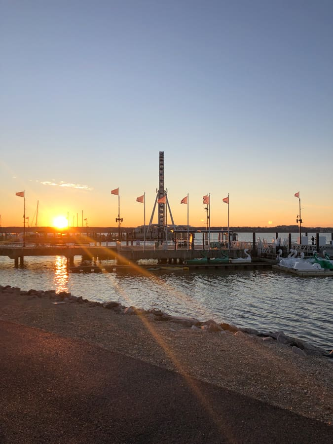 sunset at national harbor pier