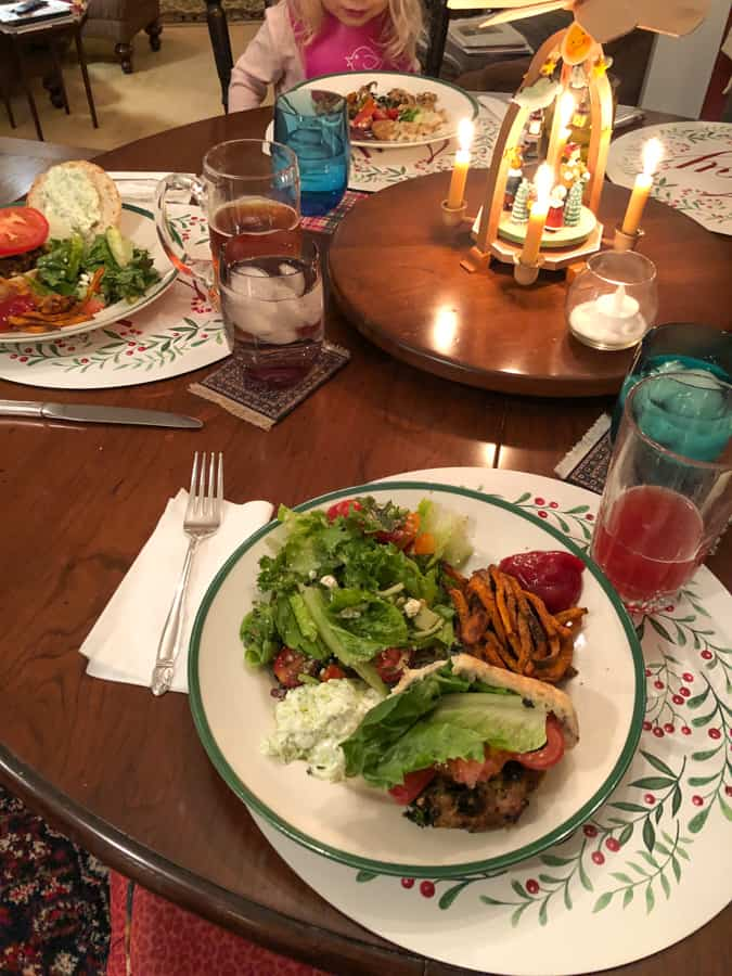 greek turkey burgers with sweet potato fries and salad