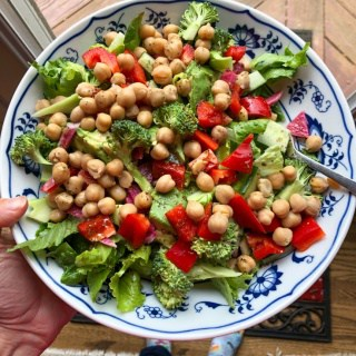 massive chickpea and veggie salad