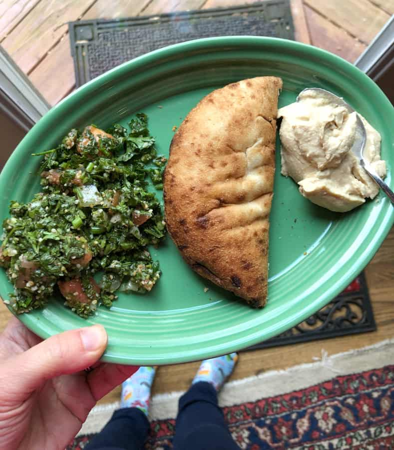 pita with hummus and tabouleh