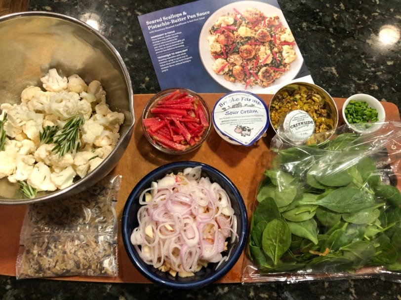 making a blue apron dinner