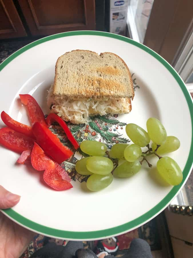 turkey reuben with grapes and red pepper