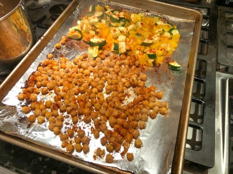 roasted chickpeas and veggies