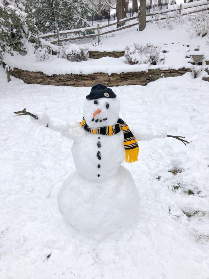 steelers themed snowman