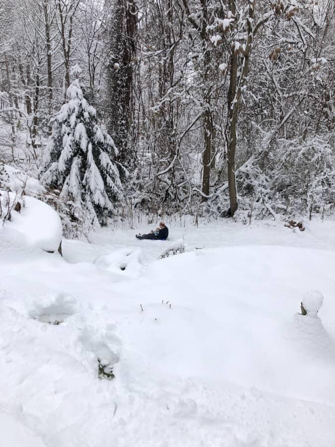 sledding in the backyard