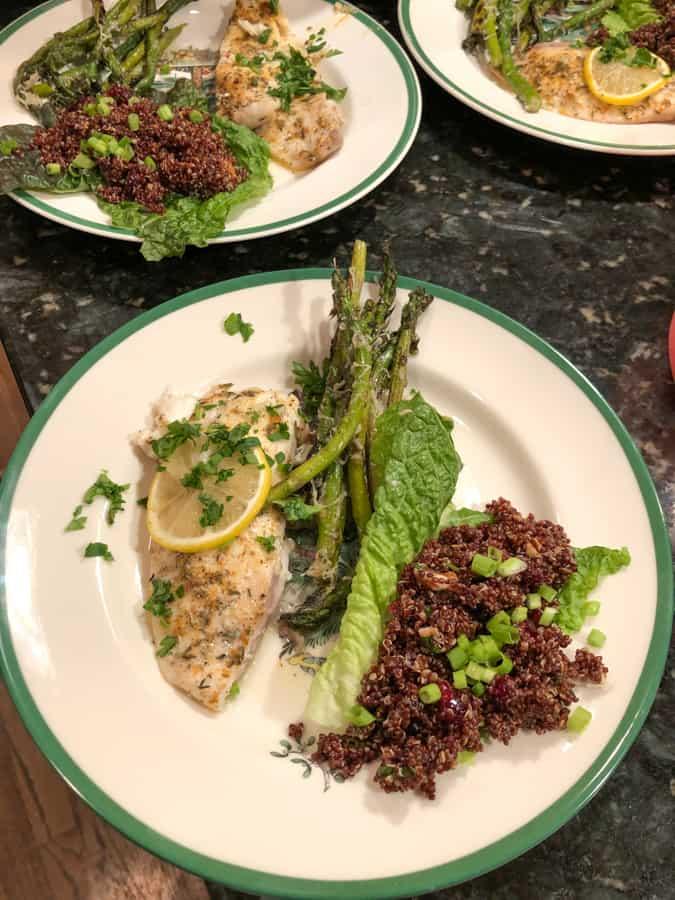 tilapia with parmesan asparagus and vegan cranberry quinoa salad