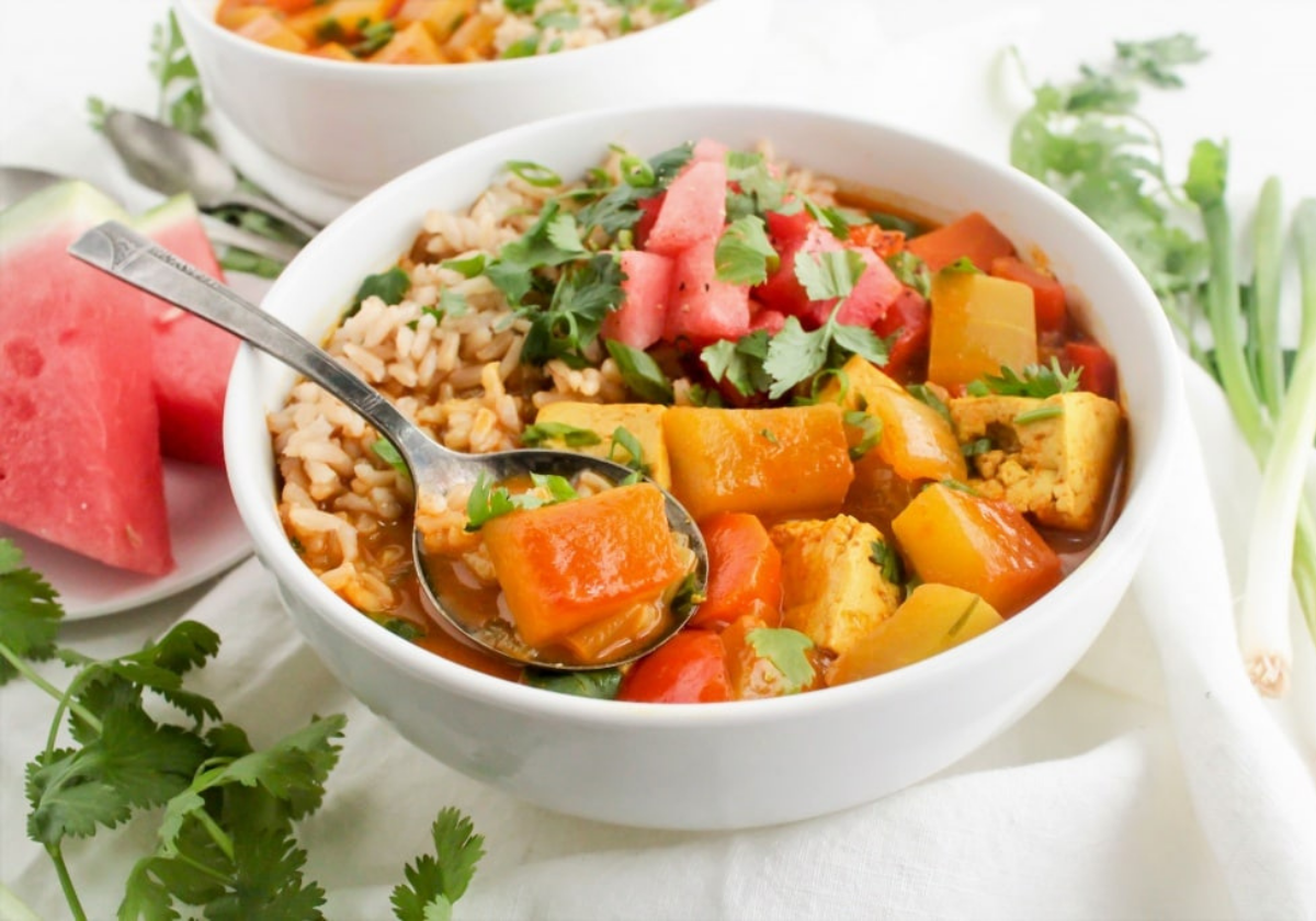 vegan tofu curry with watermelon rind in a bowl