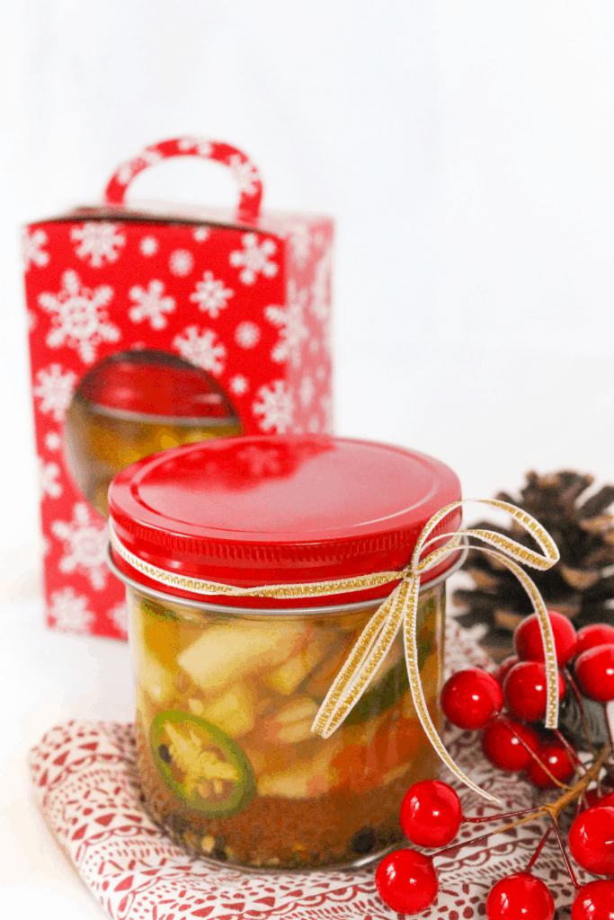 homemade holiday gift idea: pickled jalapenos and watermelon rinds in a jar