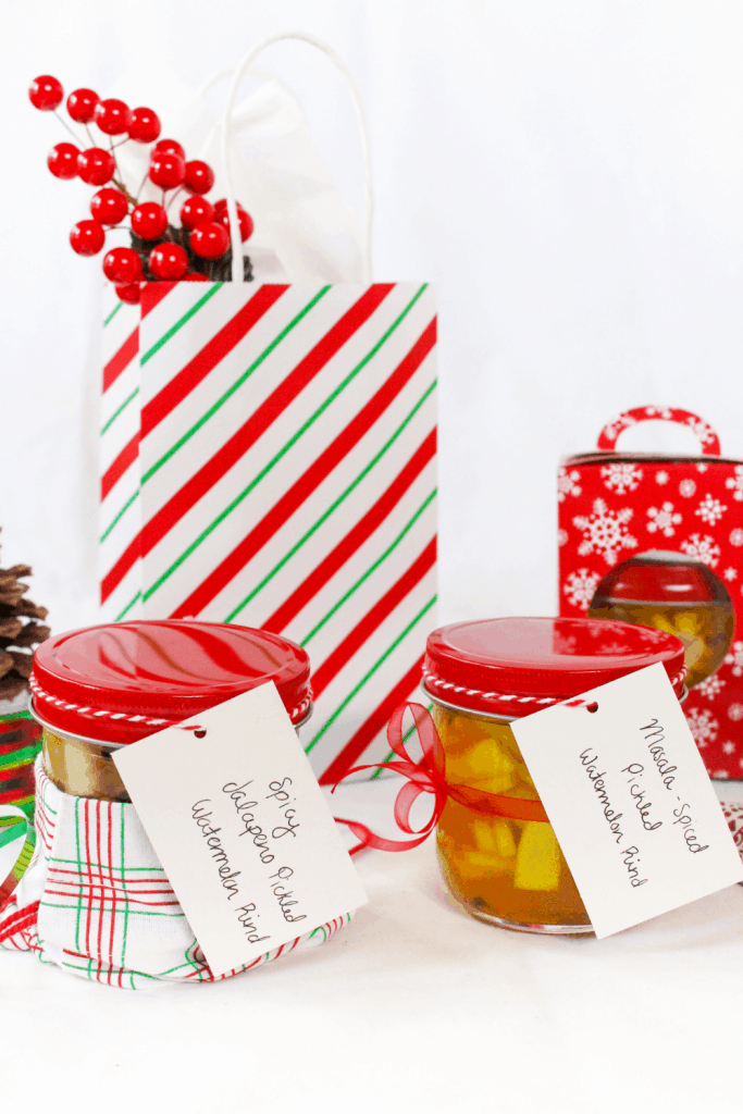 homemade holiday gift idea: jarred pickled watermelon rinds