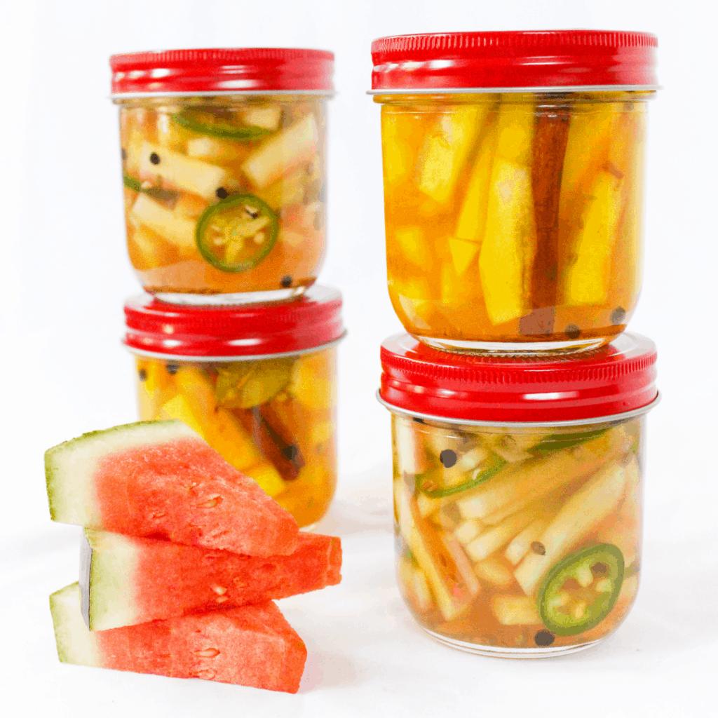 watermelon rind pickles in a jar