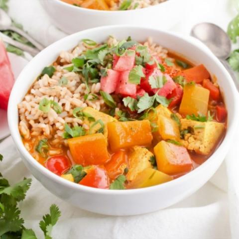 Vegan Tofu Curry with Watermelon Rind