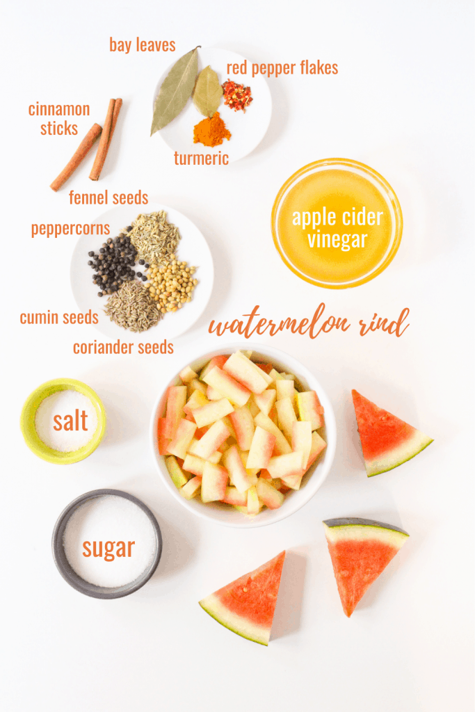 Indian spiced pickled watermelon rind ingredients