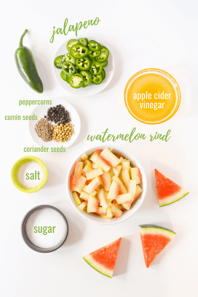spicy pickled jalapenos and watermelon rind ingredients