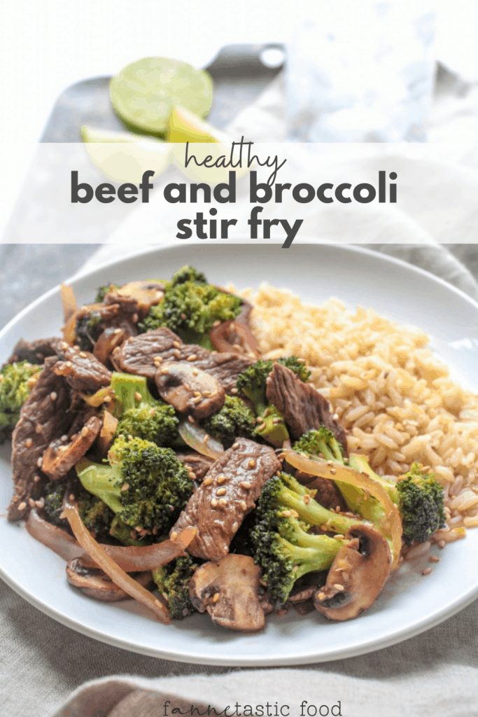healthy beef and broccoli stir fry with brown rice and mushrooms