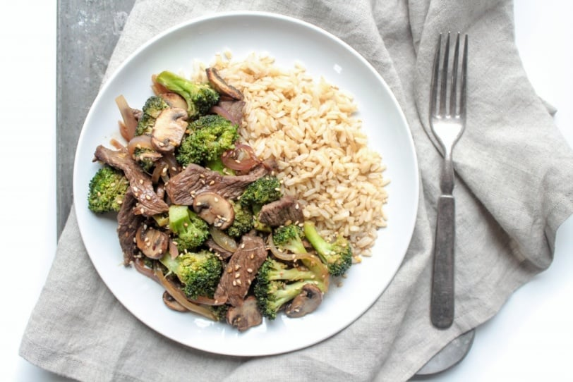 ginger beef stir fry with brown rice