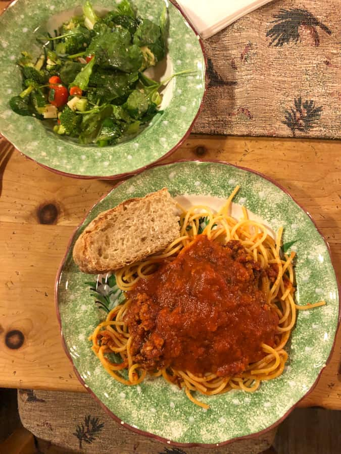 pasta with turkey bolognese sauce and salad