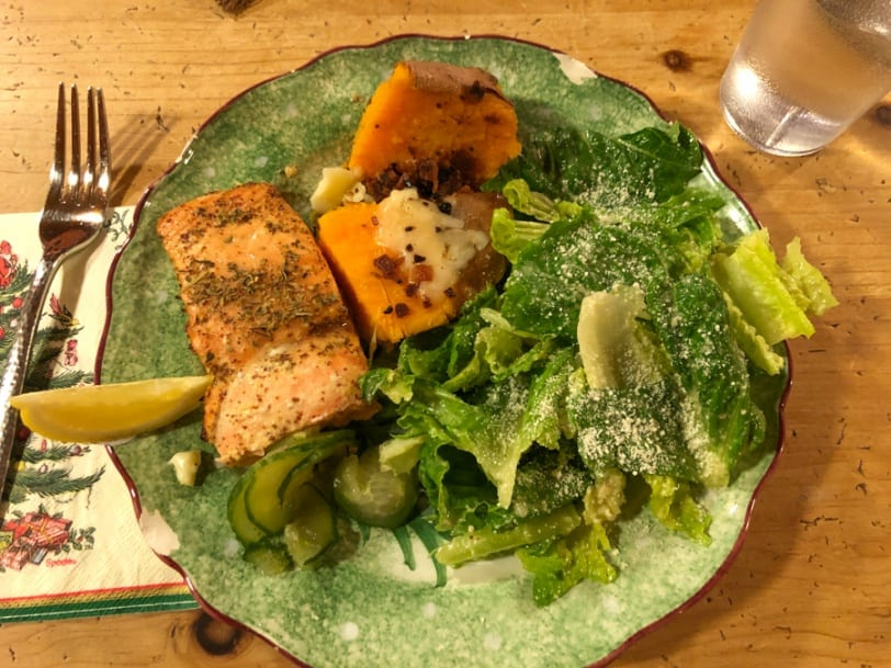 salmon with salad and sweet potatoes