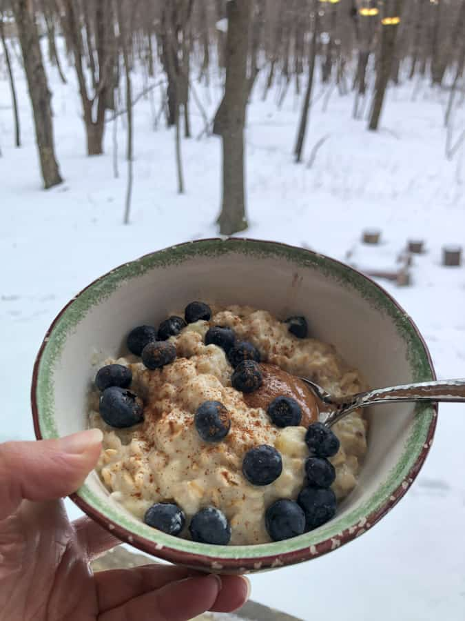 oatmeal with eggs plus snowy woods