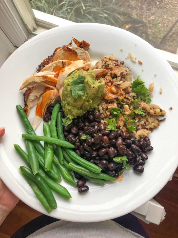 rotisserie chicken, black beans, brown rice and lentils, string beans, guac, hot sauce