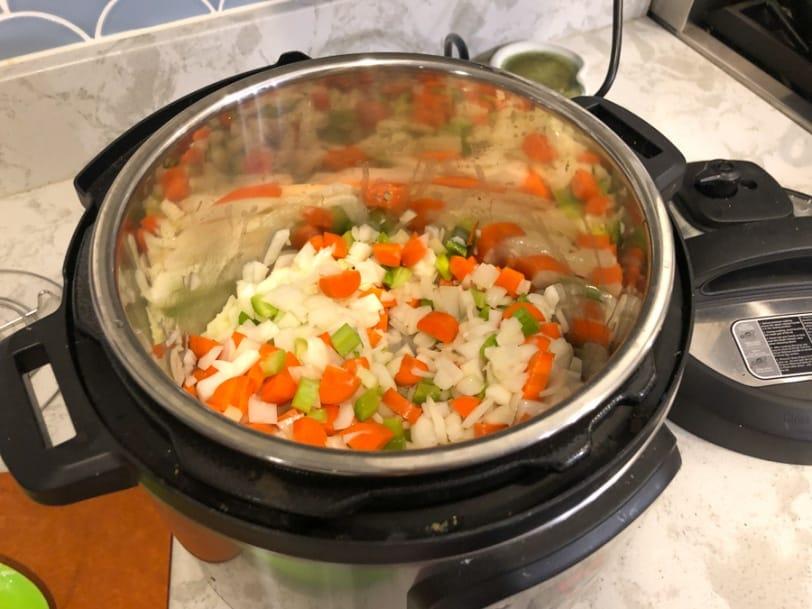 veggies sautéing in instant pot