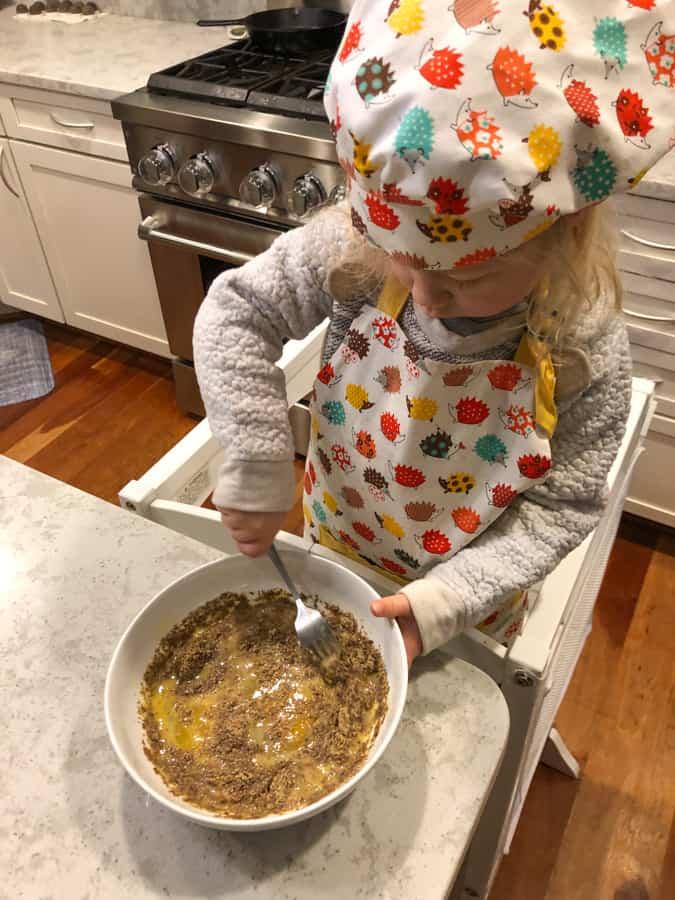helping make my flour free breakfast pancake
