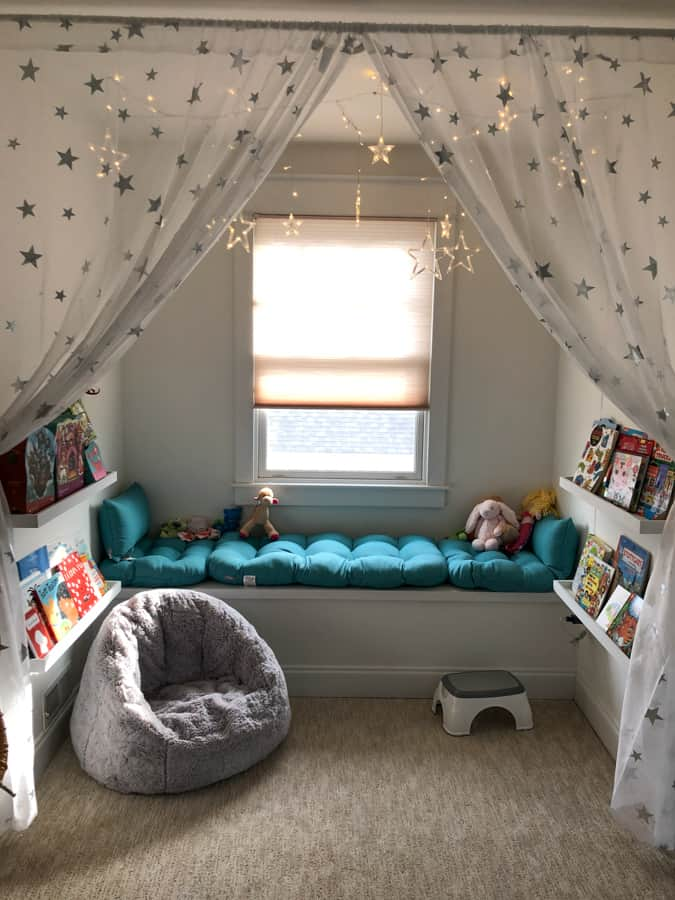 cozy reading nook for toddler