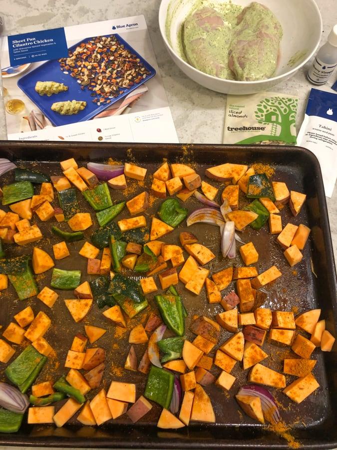 blue apron sheet pan cilantro chicken and roasted veggies