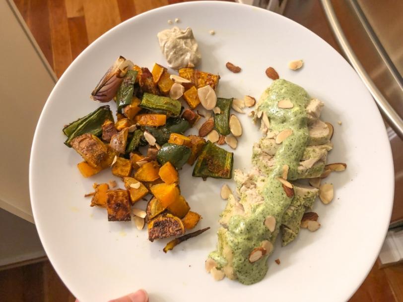 shawarma veggies with cilantro chicken