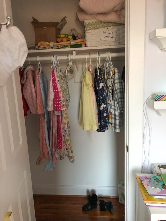 toddler closet before update