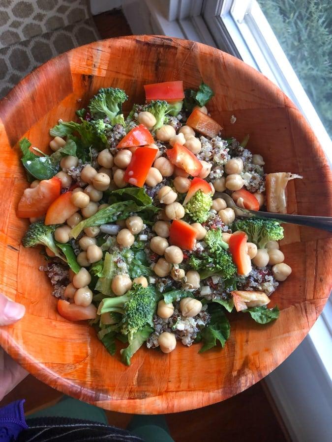 salad with quinoa chickpeas veggies feta