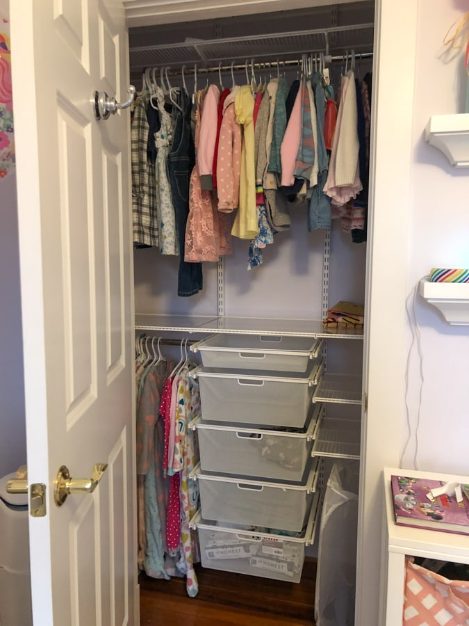 toddler closet after update with elfa
