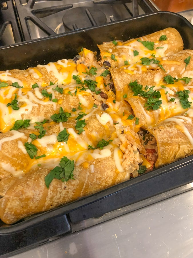 chicken enchiladas out of the oven