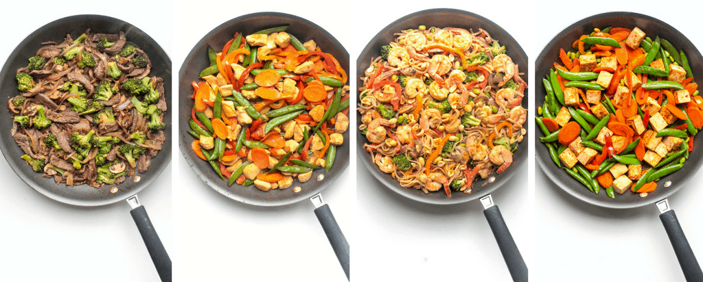 various stir fries in skillets
