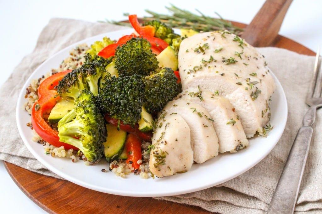 garlic herb sheet pan chicken and veggies