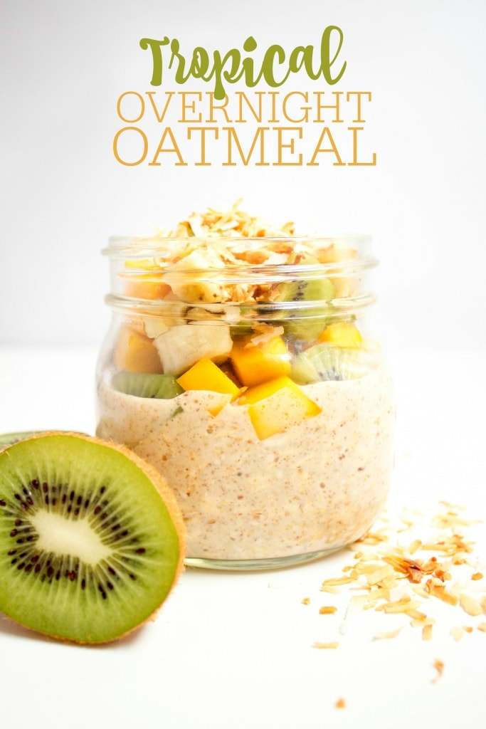 mango overnight oats with coconut and kiwi in a jar