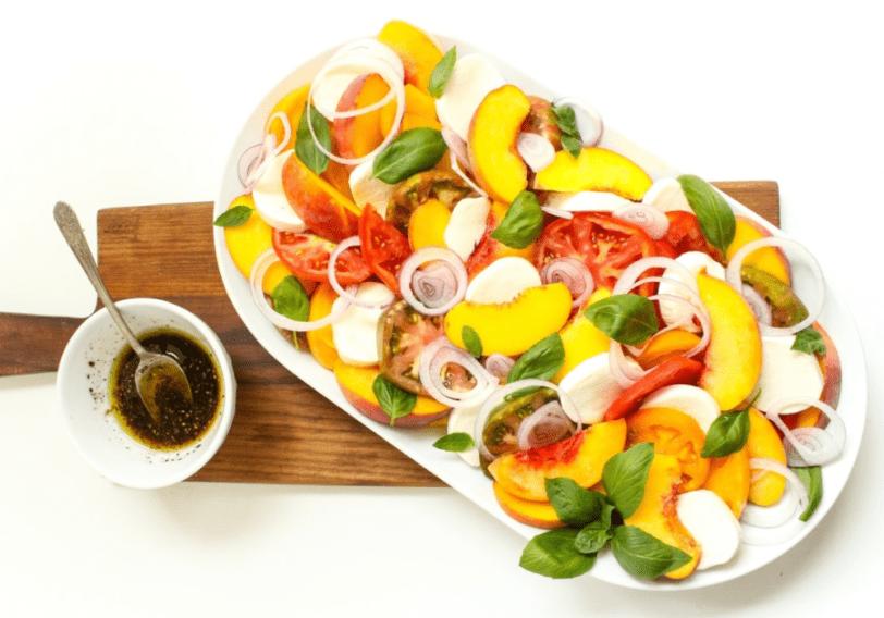 tomato peach caprese salad