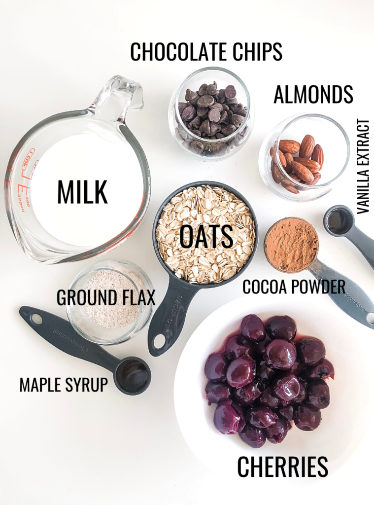 cherry chocolate overnight oats ingredients