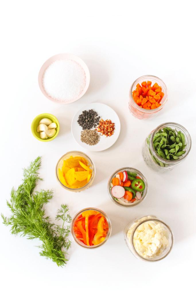 ingredients for fermenting vegetables