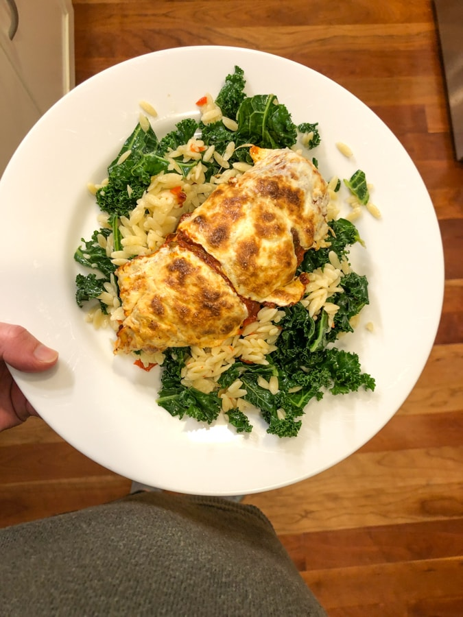 chicken with kale and orzo