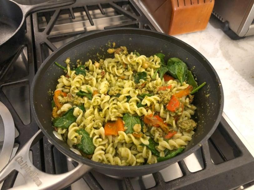 pesto pasta salad with turkey and veggies
