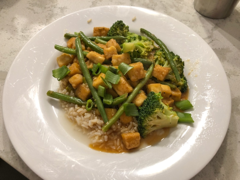tofu stir fry with broccoli and string beans
