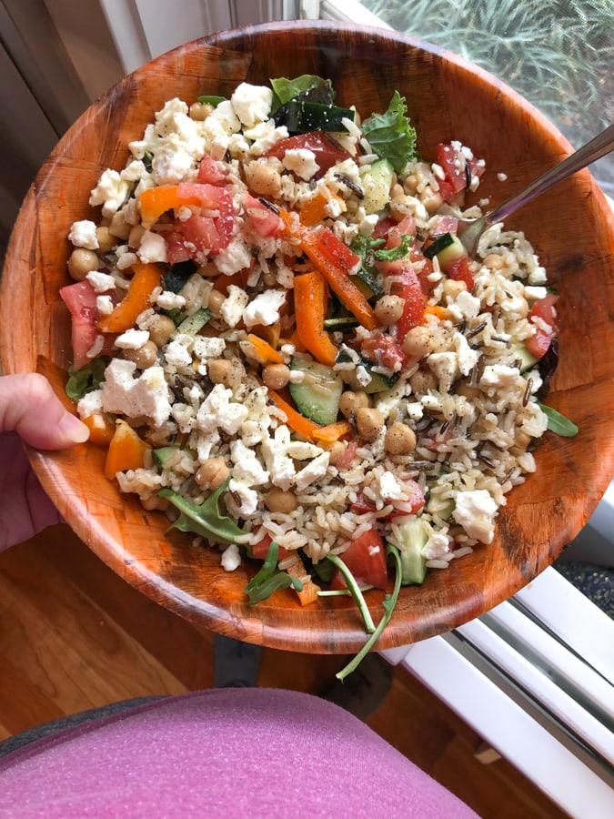 grain salad bowl with chickpeas and veggies