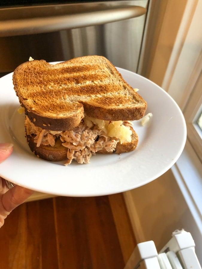 tuna salad sandwich with sauerkraut