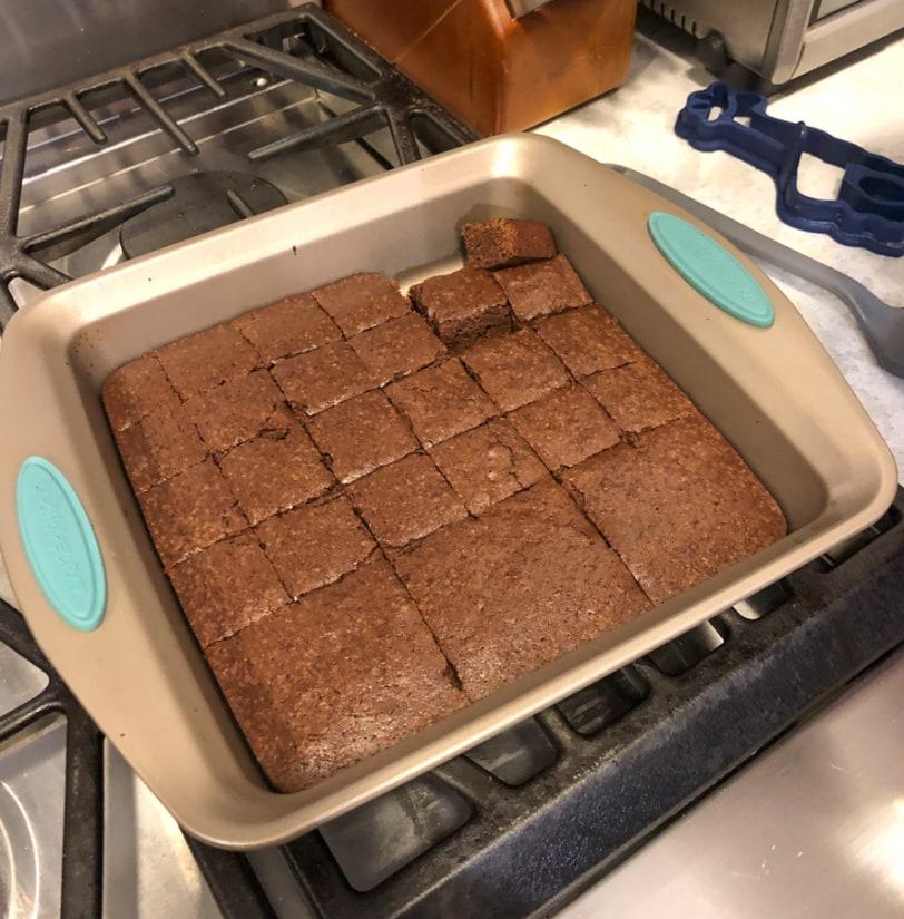 pan of brownies cooling