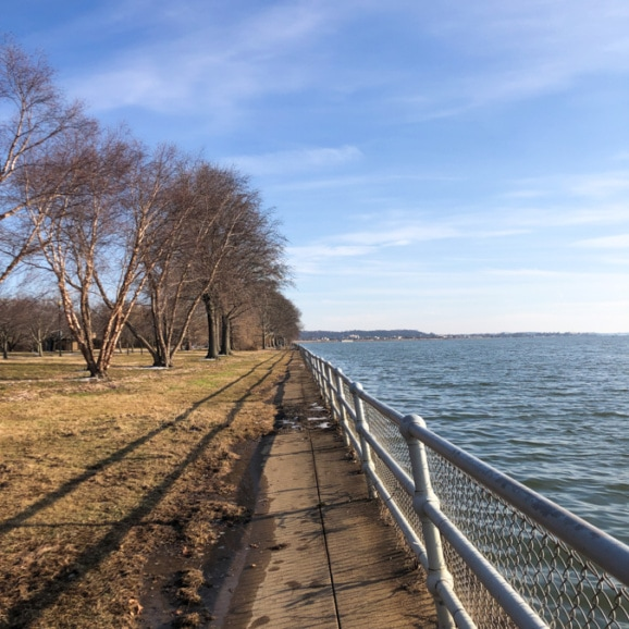 view of the water from hains point in dc