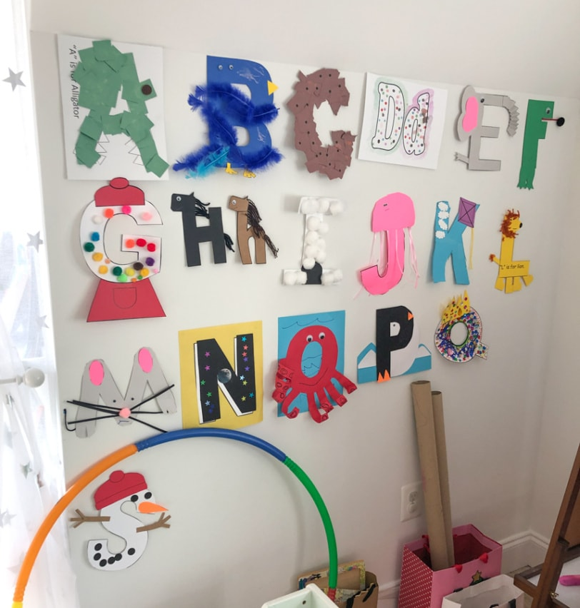 toddler alphabet craft wall display