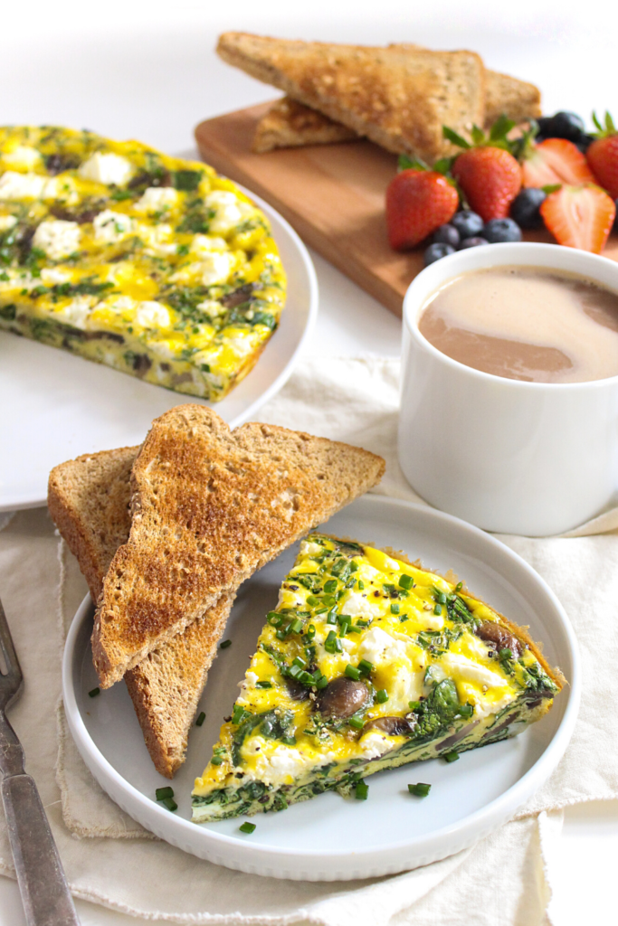 spinach frittata with spring veggies and goat cheese